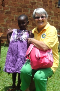 Thanks to Mama Ali who donated these lovely clothes for Charity, Jenny was able to fly all the way from Barbados to make sure she got them
