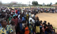 The crusade was held at the Beni sports stadium and drew a crowd.