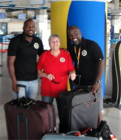 The United Caribbean Team - Imran Richards and Nigel Jules are seen off at the Barbados airport by the founder of UCT - Jenny Tryhane.