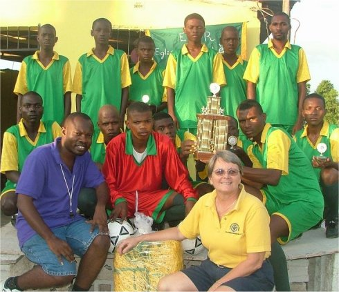 United Caribbean Trust founder Jenny Tryhane in Haiti promoting sports evangelism