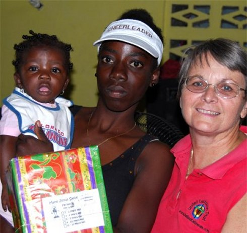 United Caribbean Trust founder Jenny Tryhane in Haiti with the Make Jesus Smile shoebox project