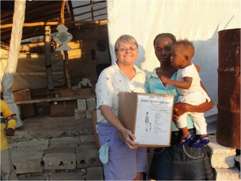 United Caribbean Trust founder Jenny Tryhane in Haiti following the earthquake delivering Baby Survival Kits