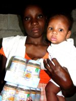 Pictures taken during a GAIN baby food distribution in Les Cayes shortly after the <a href=
