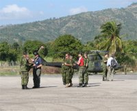 Dan and Don Warren arrived at Jacmel airport on an American Military flight