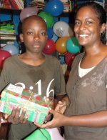 Cheron Rose Hardy the Founder of Hope Haven Orphanage in Cap Haitian distributing the Make Jesus Smile shoeboxes