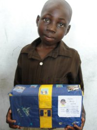 The children of St Marc receiving their Make Jesus Smile shoeboxes.