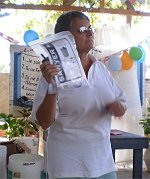 Seen here Jenny Tryhane, from Barbados teaching on hygiene and water safety.