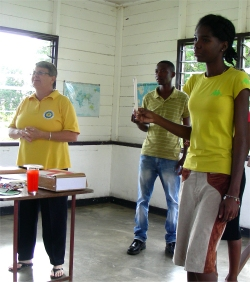 The students were trained using visual aids and drama.