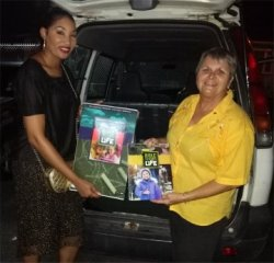 Jenny Tryhane founder of UCT distributing Love Packages donated to Barbados sent as far afield as Grenada