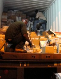 Love Packages container unpacked at Mount Zion Mission International church
