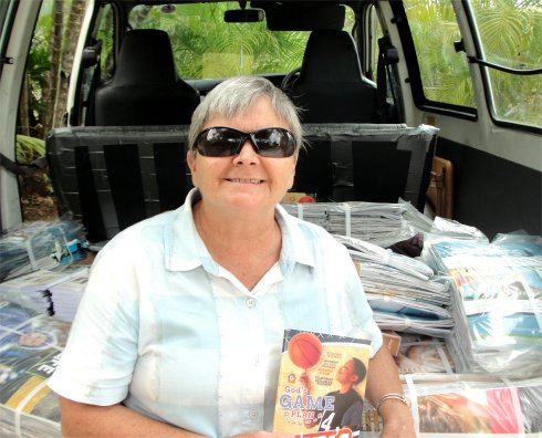 Jenny Tryhane founder of UCT distributing Love Packages donated to Barbados by Eagles Nest Ministries