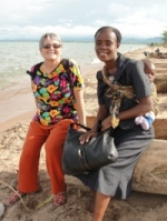 Jenny with Stella on lake Malawi