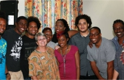 Seen here Jenny Tryhane the founder of UCT with some of the musicians at the first session.