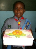 Seen here a boy Scout from Erdiston Primary School in Barbados