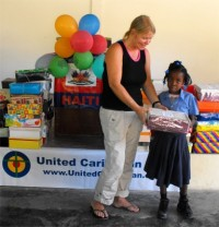 United Caribbean Trust distributed hundreds of Make Jesus Smile shoeboxes to the children of the Heart for Haiti Primary school.
