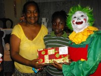 Mama Yol, the founder of the Yolanda Thervil Foundation seen here with Annie the clown who travelled all the way from Barbados