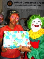 Annie the clown who travelled all the way from Barbados to join the team