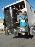 450-gallon water containers, donated by Rota Plastics, Barbados Ltd, to be used in avital clean water project.