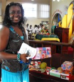 Seen here receiving the gift from Ann Gill Memorial Methodist church in Barbados.
