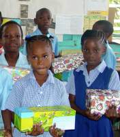 Half Moon Primary school in Barbados armed with their gifts for Haiti