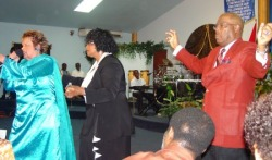 Prophetess Sandra Moore with Apostle John Wilson at  Divine Encounter Fellowship Headquarters Trinidad