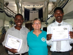 Seen here with her translator and UCT Haiti representative Pastor Pierre Bannes Laurore our UCT Haiti representative.