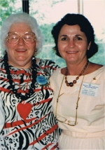 Peggy with Joan Martin, Manager of the F.B.C. Office at the 50th Anniversary of Stonecroft in 1988
