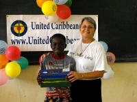 Jenny Tryhane in Suriname distributing the Make Jesus Smile shoeboxes in Brokoponda