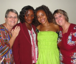 Praise God this became a reality in Jan 2011 as Jenny visited Uganda, seen here with MaMa, Bishop Pinos' wife, Maggie Pastor Abrahams wife and Pastor Laura.