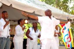 Singing group IDMC had the audience do the electric slide as the sang Lord I Lift Your Name On High to the beat of Michael Jackson's ABC compliments of the Nation News