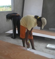 WYAM in Carriacou 2006 painting the  ply for the  ceiling