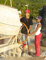 The 'youth of the island' working on the  new church in Carriacou