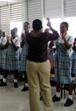 Dr B's first school visit in Barbados was Springer Memorial School.