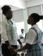 Shamelle ministering to one of the girls