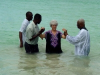 Barbara's baptism in the crystal clear waters of the Caribbean