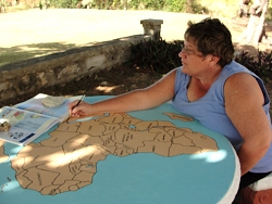 Thanks to Kim Smith a prophetic artest who lovely painted the map of Africa on the Prayer station,